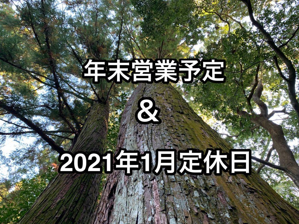 年末営業と2021年1月の定休日